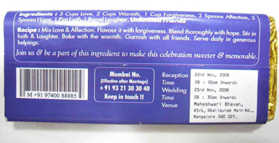 Dairy Milk Wedding Card