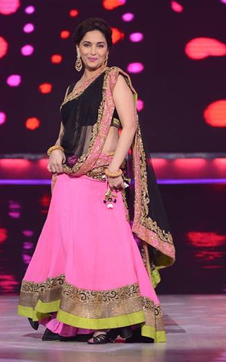 Pink & Black Lehenga Sari