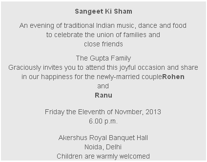 Sangeet Card Wording