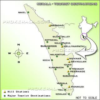 kerala tourism map