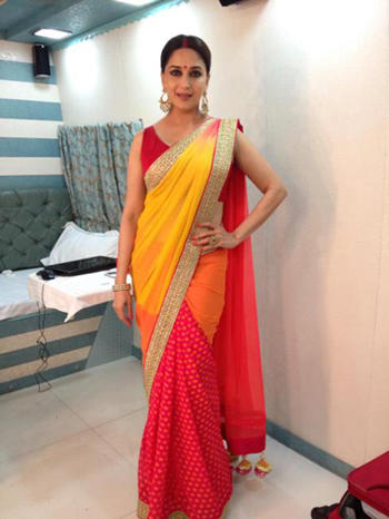 Bright Yellow & Red Sari