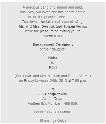 Engagement Card Wordings