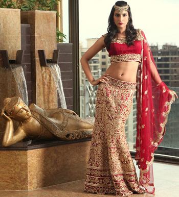 Fish-Cut Red Lehenga