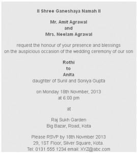 Hindu Wedding Card Wording