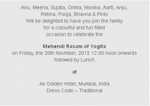 Mehndi Ceremony Card Wording