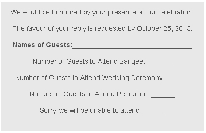 RSVP Card Wordings
