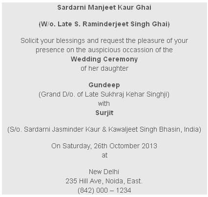 Sikh Wedding Card Wording