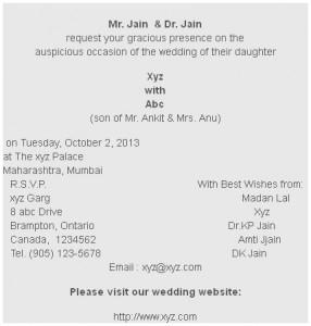Wedding card of daughter wordings