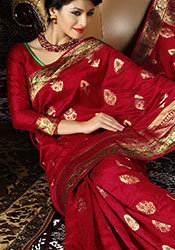 red and golden Banarasi saree