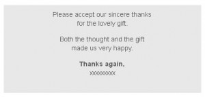 Thank you Card Wording