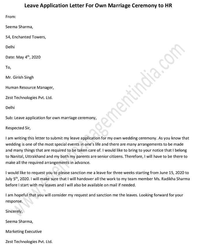 Leave Request Letter / Application for Own Marriage Ceremony to hr
