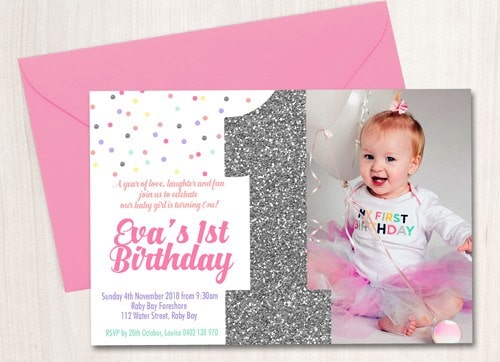 Personalised Invitation Cards for 1st Birthday