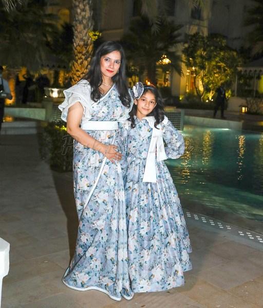 Designer Light Blue Mother Daughter Gown Combo